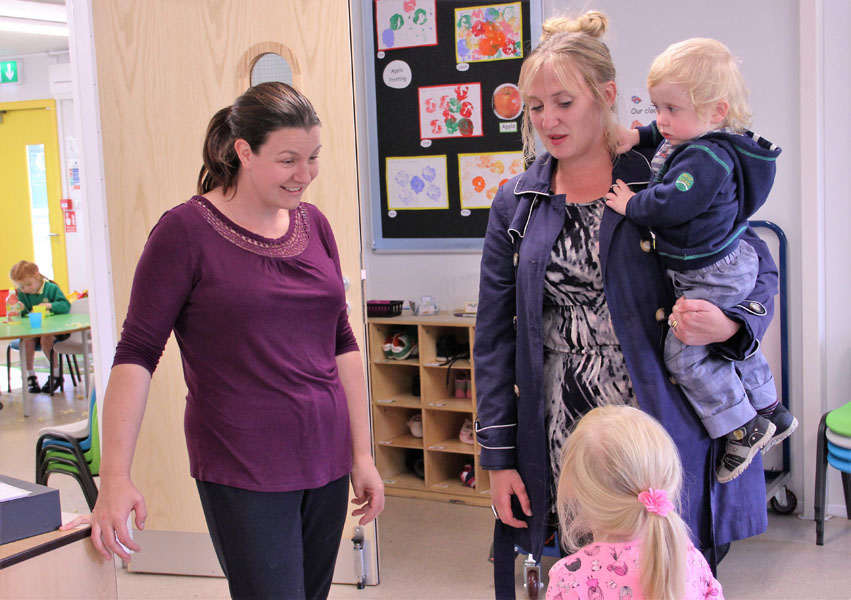Parent talking with staff
