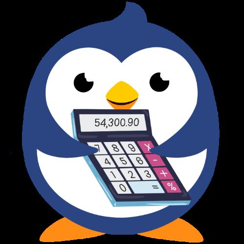 Children's Corner Little Blue penguin holding calculator