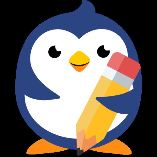 Children's Corner Little Blue penguin holding pencil